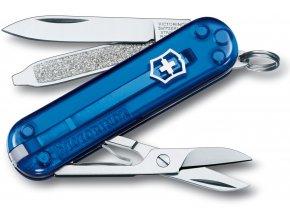 kapesni mini nuz klicenka victorinox 58 mm classic sd transparentni modra