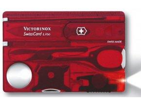 swisscard victorinox lite transparentni cervena