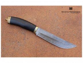 rusky lovecky nuz z damaskove oceli sekac kovarna klementeva habr mosaz