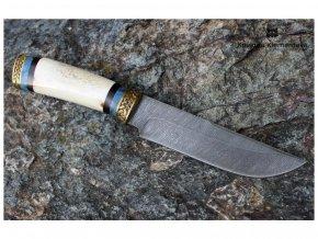 rusky lovecky nuz z damaskove oceli dravec kovarna klementeva mosaz losi parozi briza