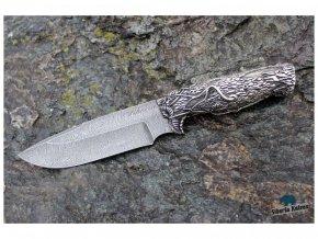 rucne kovany rusky lovecky nuz z damaskove oceli damascensky siberian siberia knives