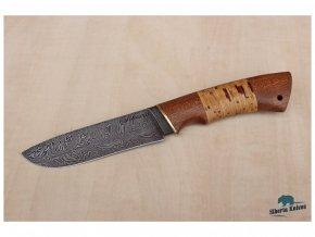 rusky lovecky damaskovy nuz z damascenske oceli varan siberia knives mahagon briza mosaz