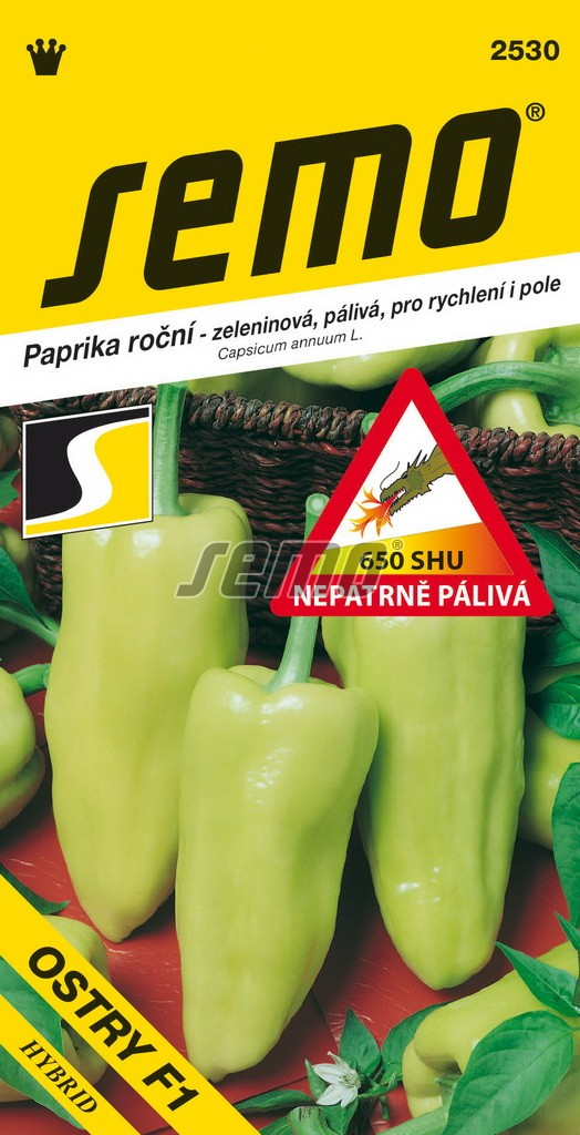 Paprika Ostry F1 - zel. pálivá rychl,pole 15s /SHU 650/