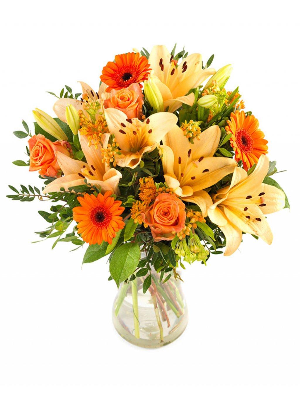 Barevna kytice lilii gerber ruzi