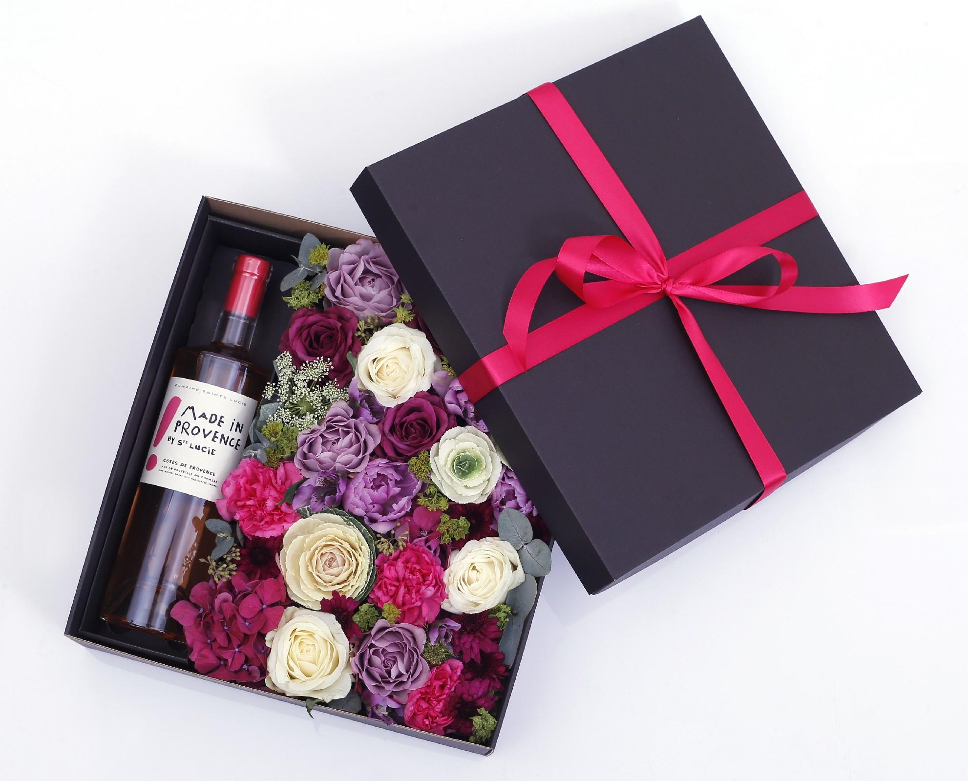 květiny Botanika Květinová krabice s fialovými květy v dárkové kazetě