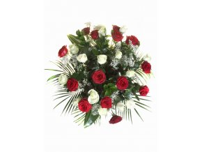 30 Růže bílo červená mix