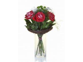 5 Buket Růže red