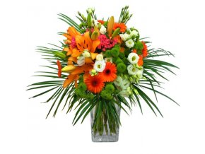 2027 bouquet of lilies eustoma solidago gerbera santini bovardia greenery
