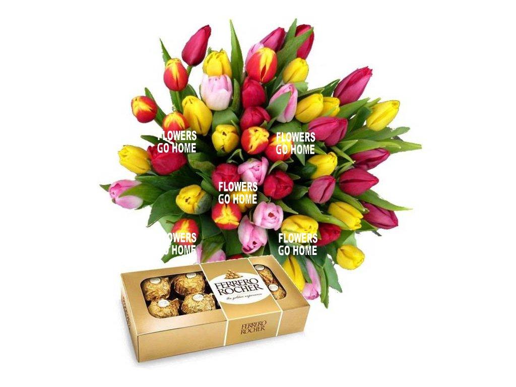 Tulipány s Ferrero Rocher
