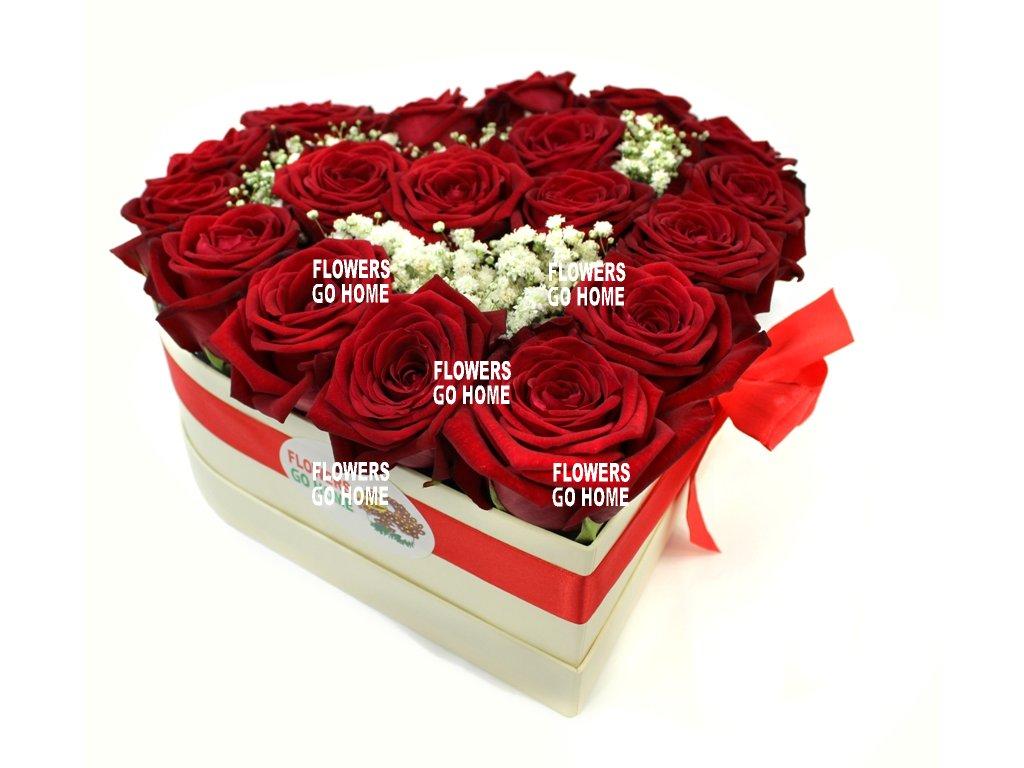 Růže v krabici srdce