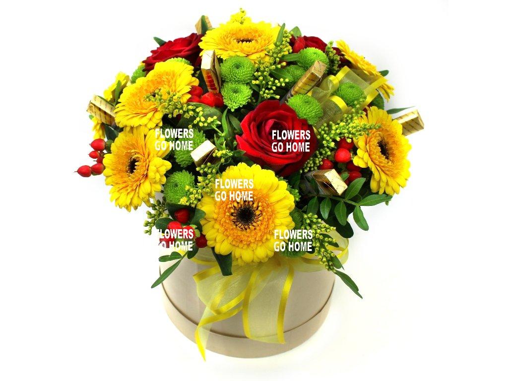 Květiny v krabici žluté gerbery