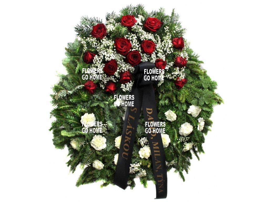 Smuteční věnec karafiáty / růže