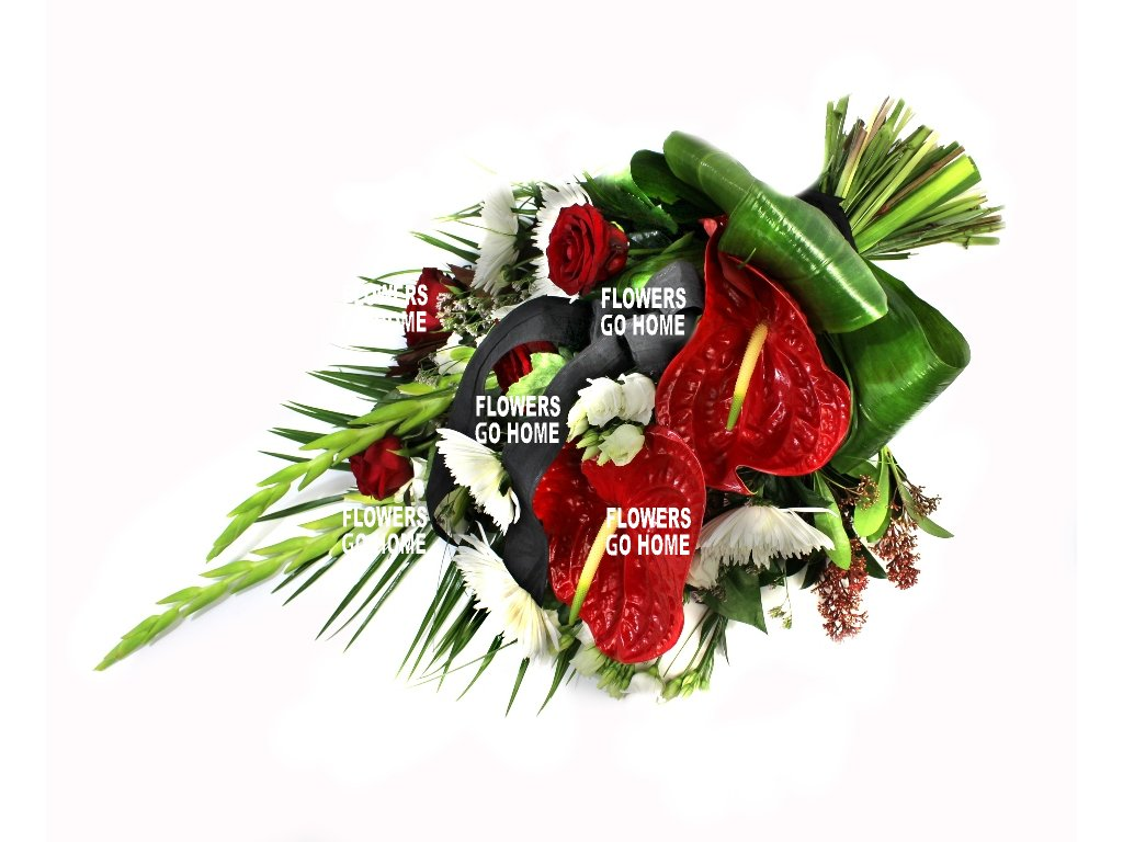 Smuteční kytice anthurie / gladioly