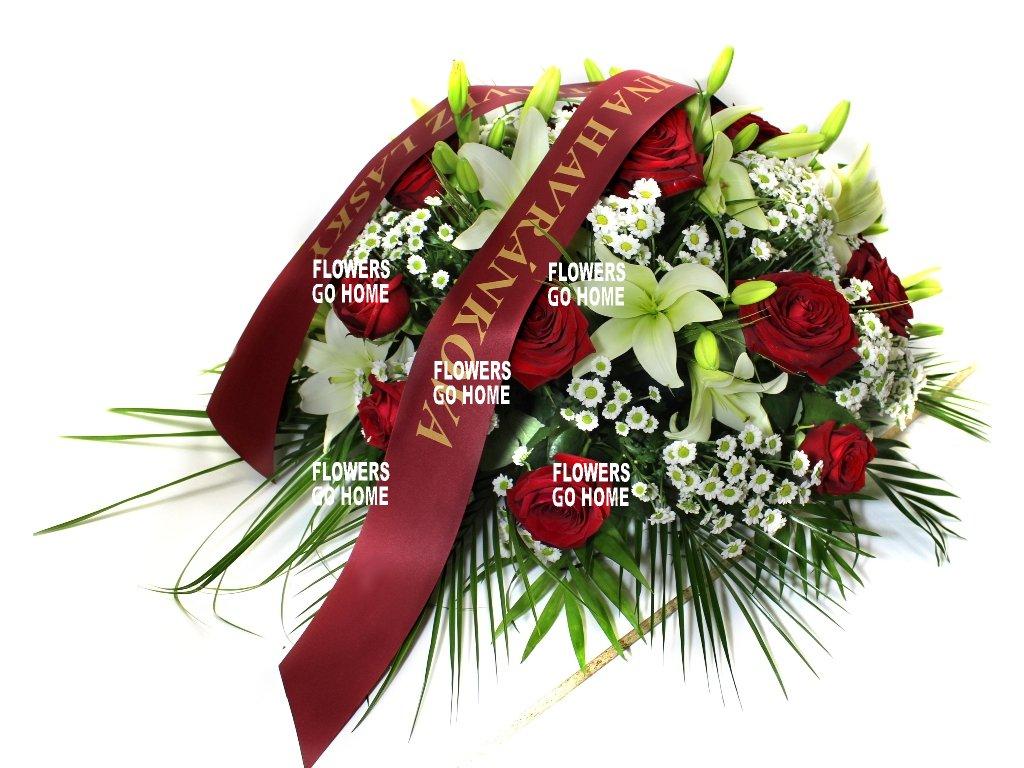 Smuteční dekorace růže / lilie / santini