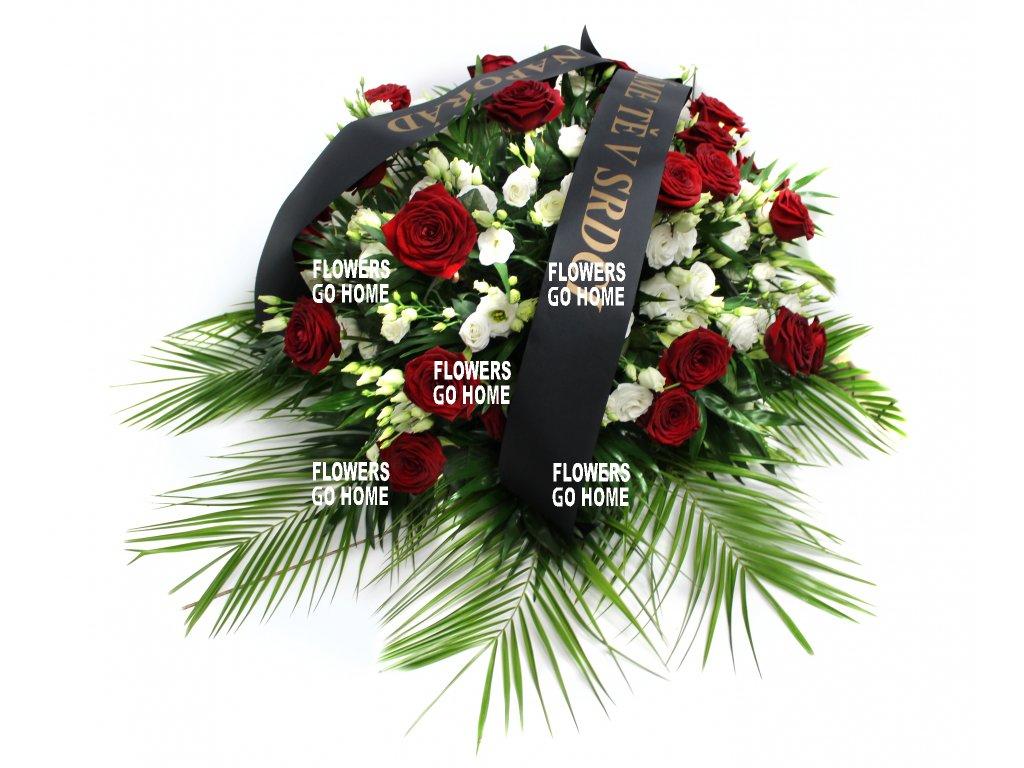 Smuteční dekorace růže / eustomy