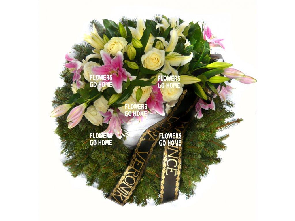 Smuteční věnec lilie / růže