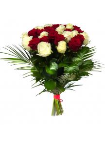 Kytice růží  s palmovým listem