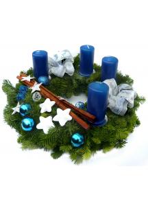 Adventní věnec modrý (Průměr věnce Ø 25 cm)