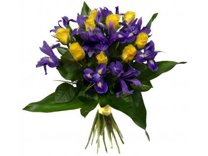 Žluté růže s irisy