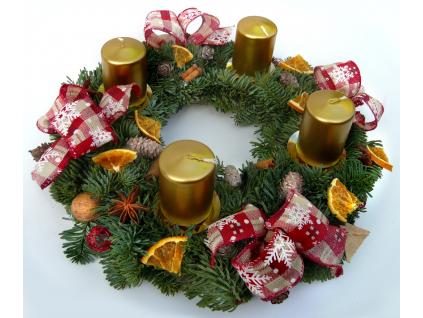 Zlatý adventní věnec (Průměr věnce Ø 25 cm)