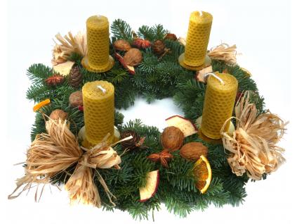 Adventní věnec - svíčky ze včelího vosku (Průměr věnce Ø 25 cm)