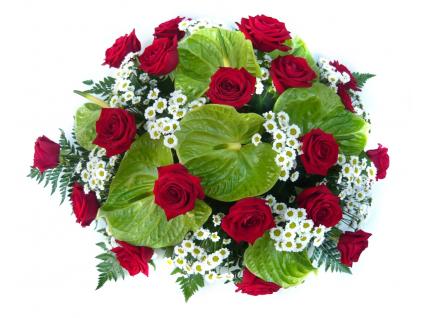 Smuteční kytice anthurie / růže