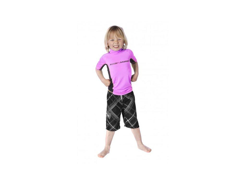 Lycrové triko s krátkým rukávem Magic Marine Cube Rash Vest S S Kids dětské, růžové