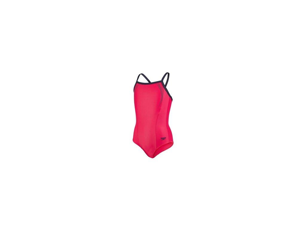 Plavky Speedo SPORTS LOGO THIN STRAP MUSCLEBACK rose navy, dívčí jednodílné