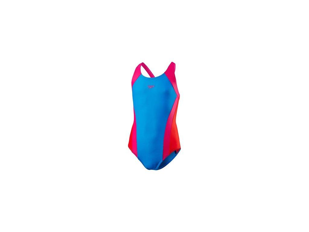 Plavky Speedo ESS SPBK JF modrá růžová dívčí jednodílné