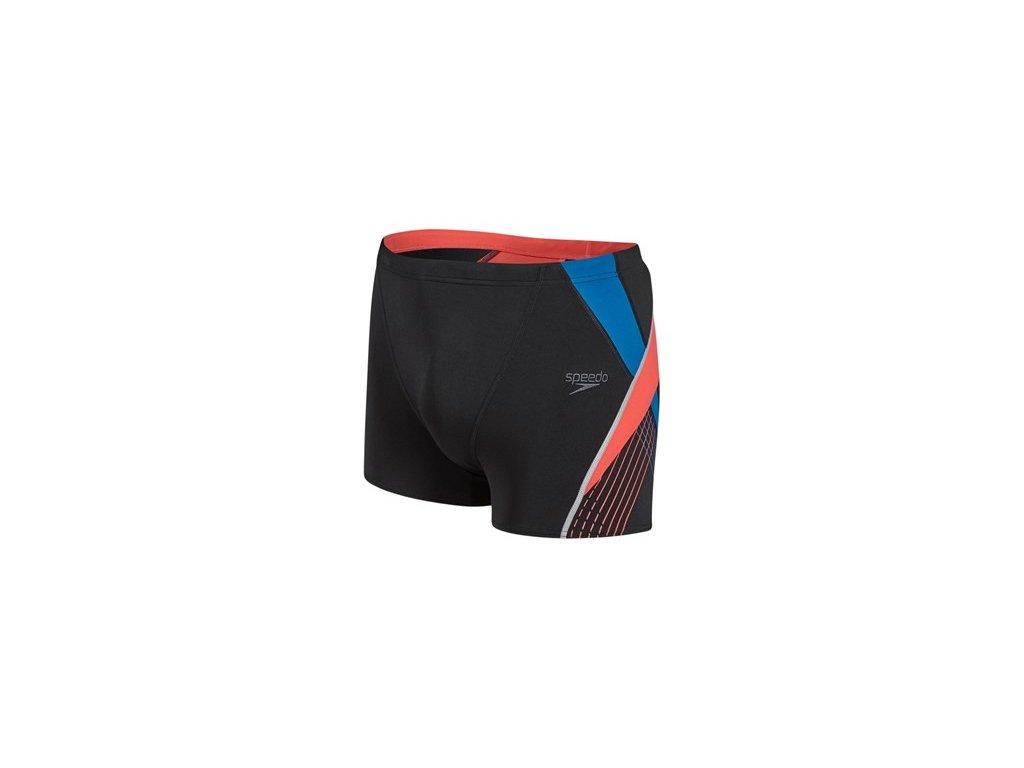 Plavky Speedo SPDFIT SPL ASHT AM černá červená pánské s nohavičkou