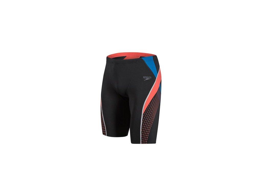 Plavky Speedo SPDFIT SPL JAM AM černá červená pánské s dl. nohavičkou