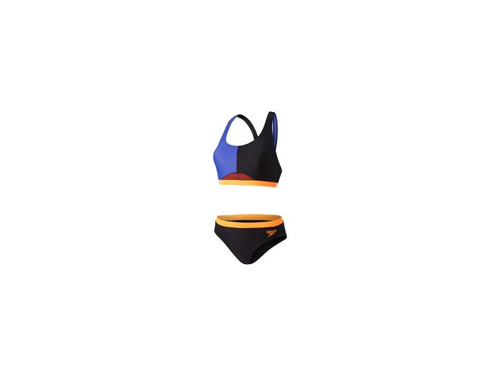 Plavky Speedo HYDRACTIVE 2PCE AF BLACK BLUE dámské dvoudílné