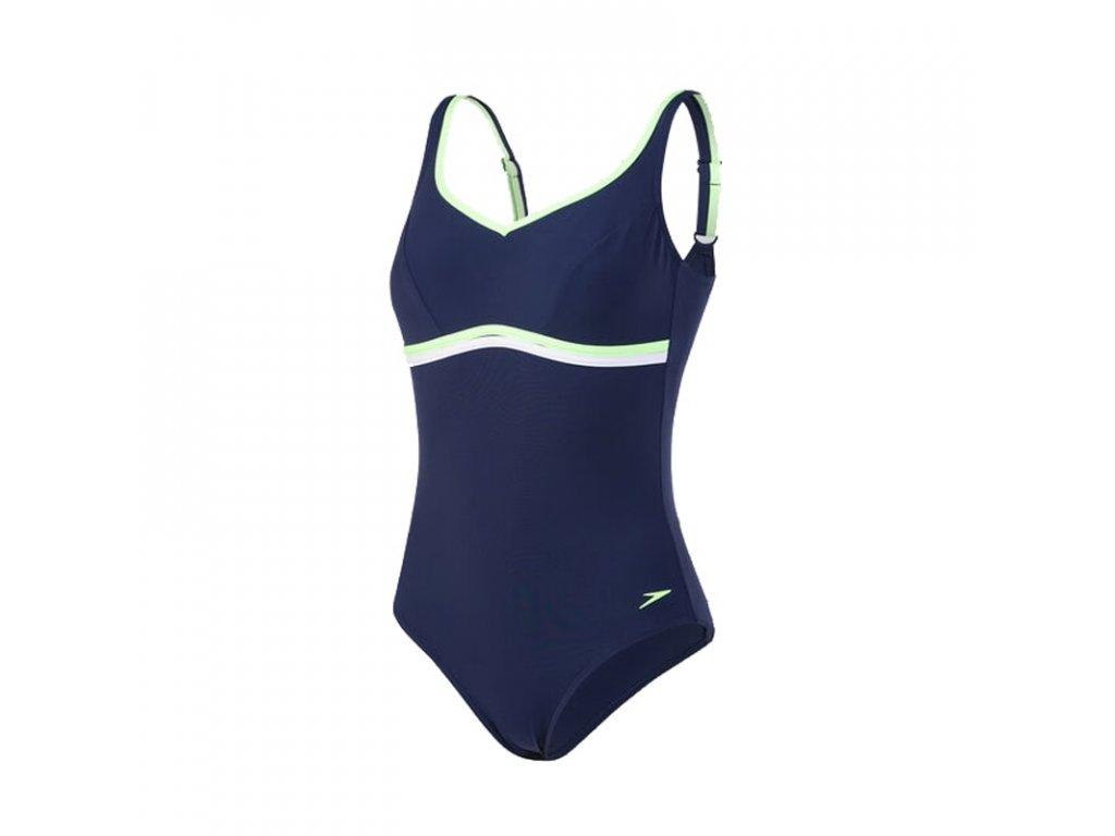 Plavky Speedo CONTOURLUXE dámské jednodílné, tm. modré zelené,