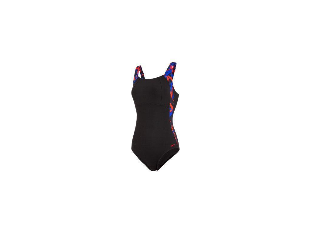 Plavky Speedo SPDSCU LUNALUSTRE 1PC černá modrá, dámské jednodílné