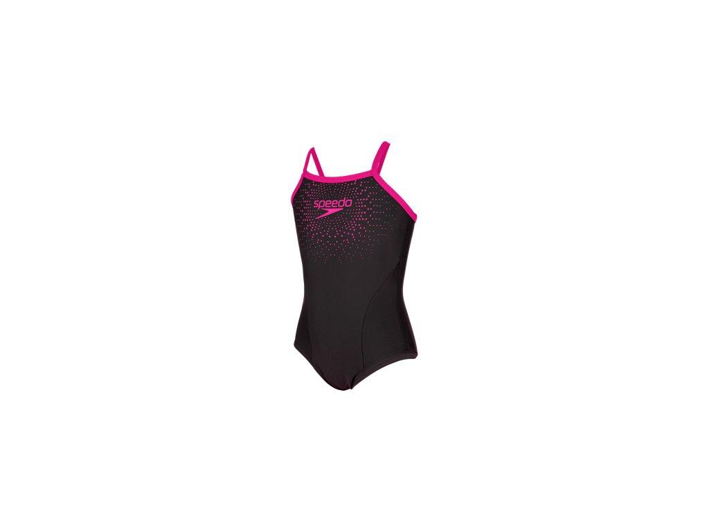 Plavky Speedo GALA LOGO TSRP dívčí jednodílné, černé růžové,