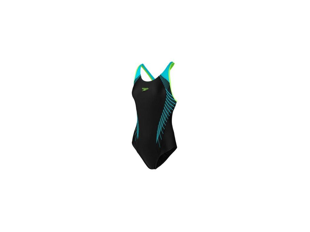Plavky Speedo FIT LANEBACK AF dámské jednodílné, černé modré,