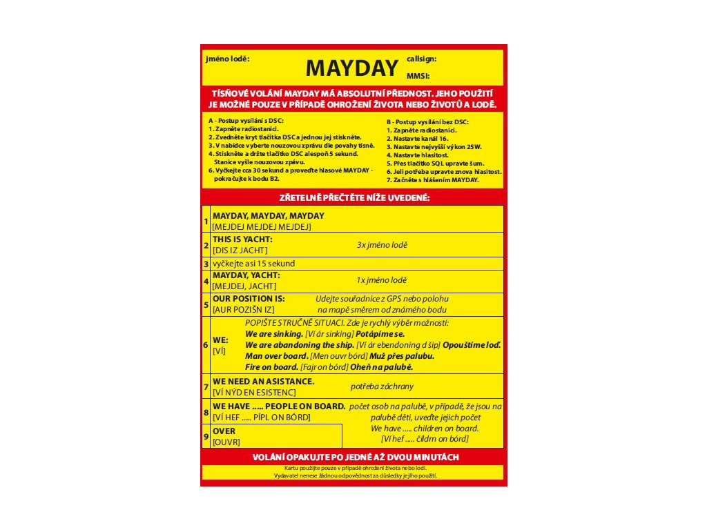 MAYDAY Card