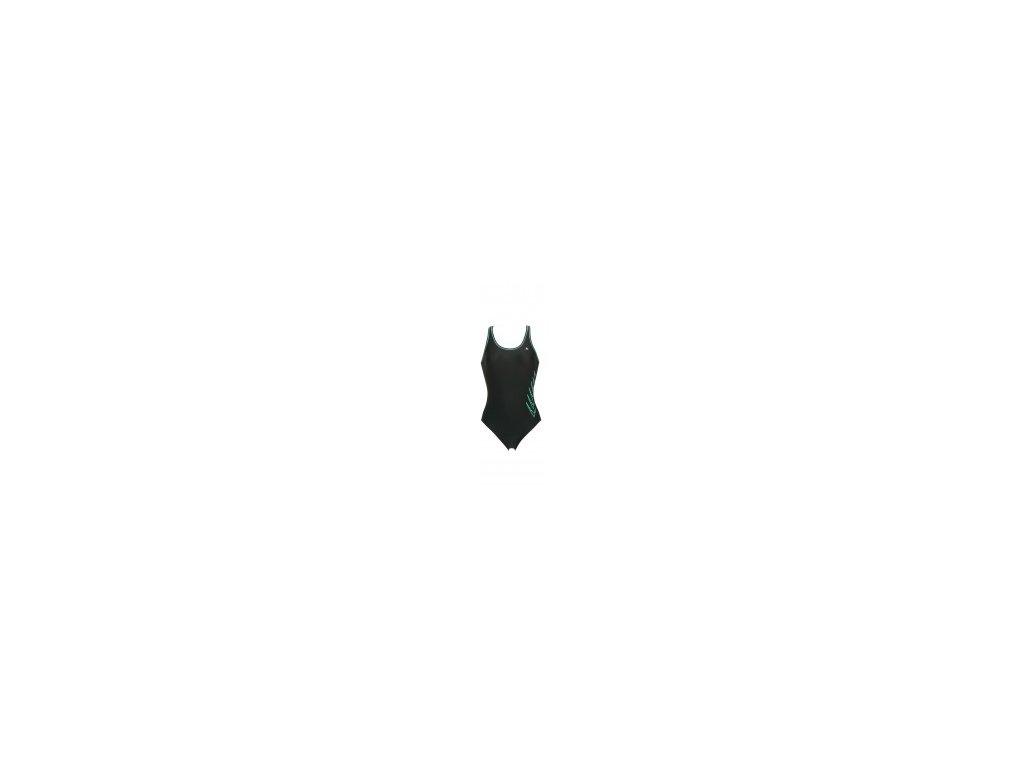 plavky AqSp ERIKA černá zel. dámské jednodílné