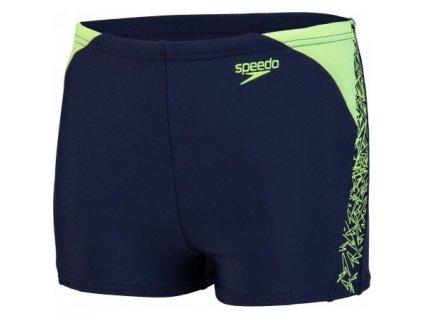 Plavky Speedo BOOM SPLICE chlapecké s nohavičkou, tm. modré zelené,