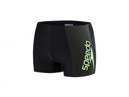 Plavky Speedo GALA LOGO pánské s nohavičkou, černé zelené,