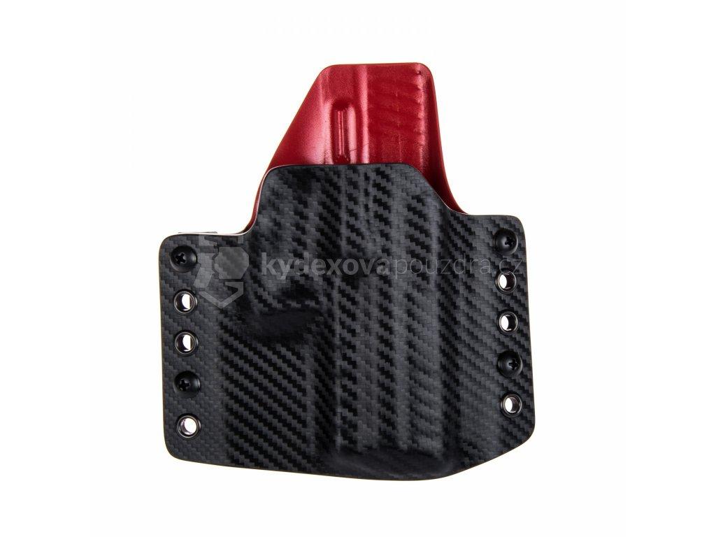 OWB - Heckler & Koch P30 - vnější kydexové pouzdro - poloviční sweatguard - carbon/červená