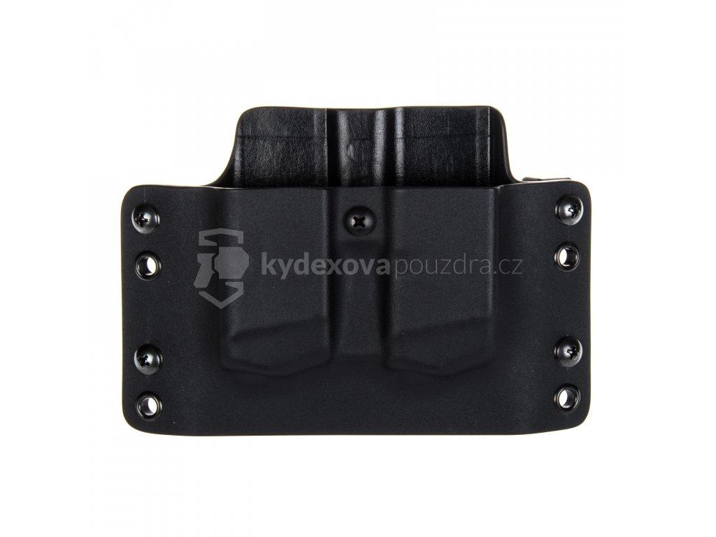 OWB - Glock 17/19/19X/45 - vnější kydexové pouzdro na 2 zásobníky - plný sweatguard - černá/černá