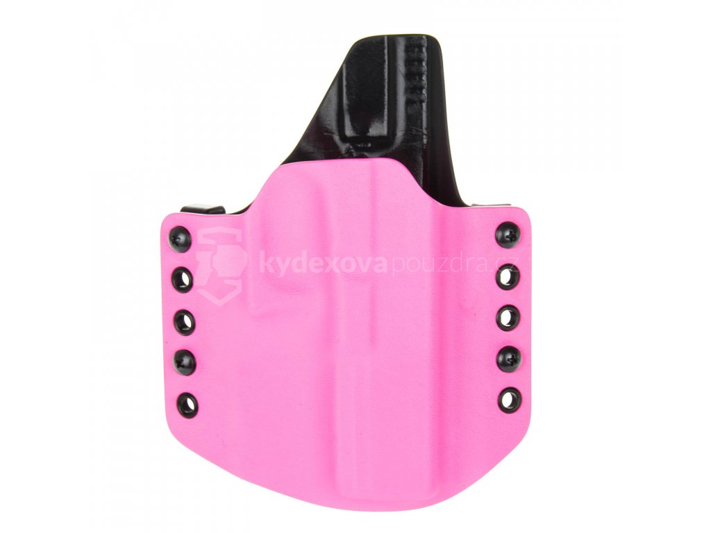 OWB - Glock 17/22/31 - vnější kydexové pouzdro - poloviční sweatguard - růžová/černá