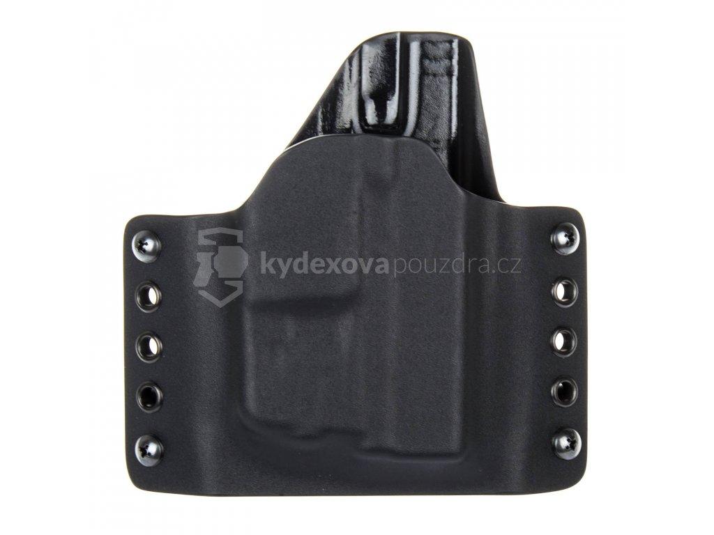 OWB - Glock 43/43X + Streamlight TLR-6 - vnější kydexové pouzdro - poloviční sweatguard - černá/černá