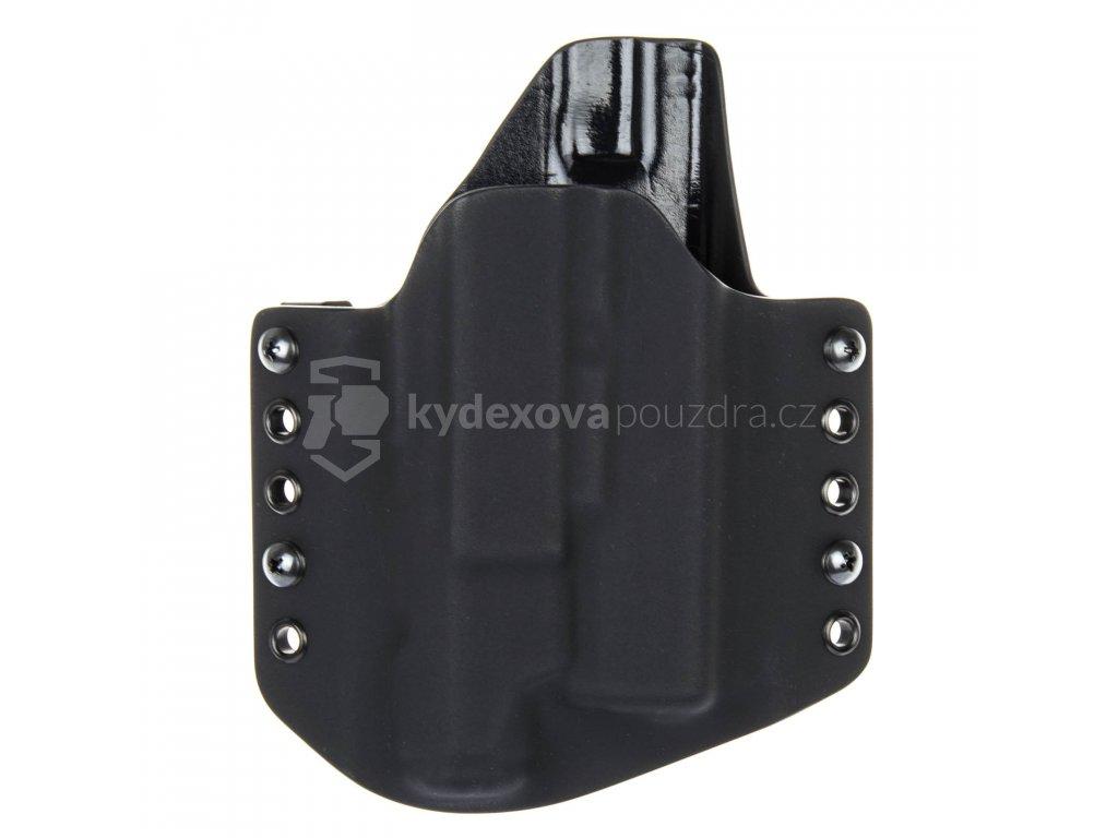 OWB - Glock 19/23/32 + Inforce APL Gen 3 - vnější kydexové pouzdro - poloviční sweatguard - černá/černá