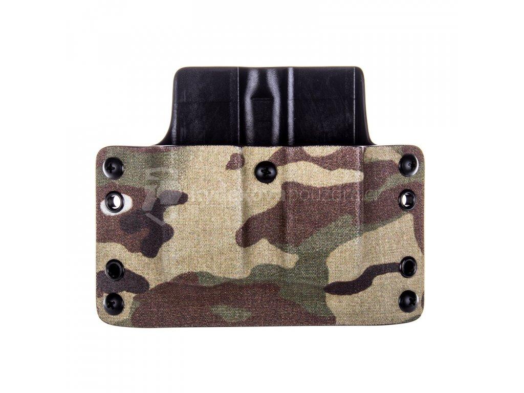 OWB - Glock 17/19/19X/45 - vnější kydexové pouzdro na 2 zásobníky - plný sweatguard - multicam/černá