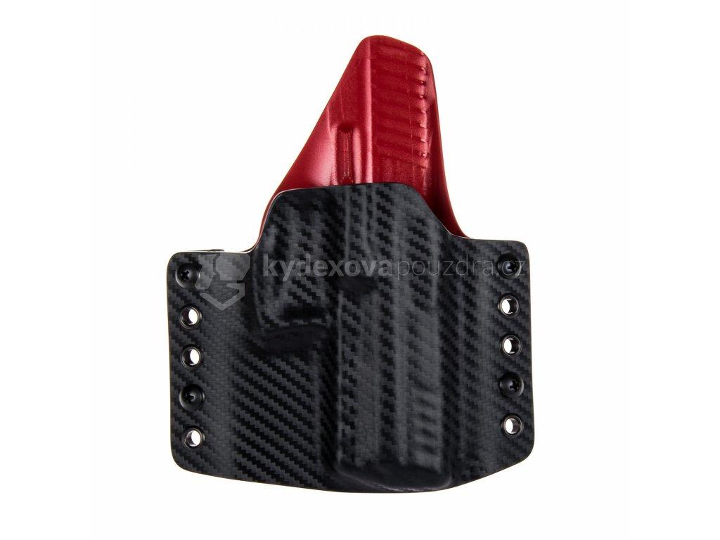 Kydexové pouzdro na zbraň Heckler & Koch P30 se sweatguardem - vnější, carbon/červená