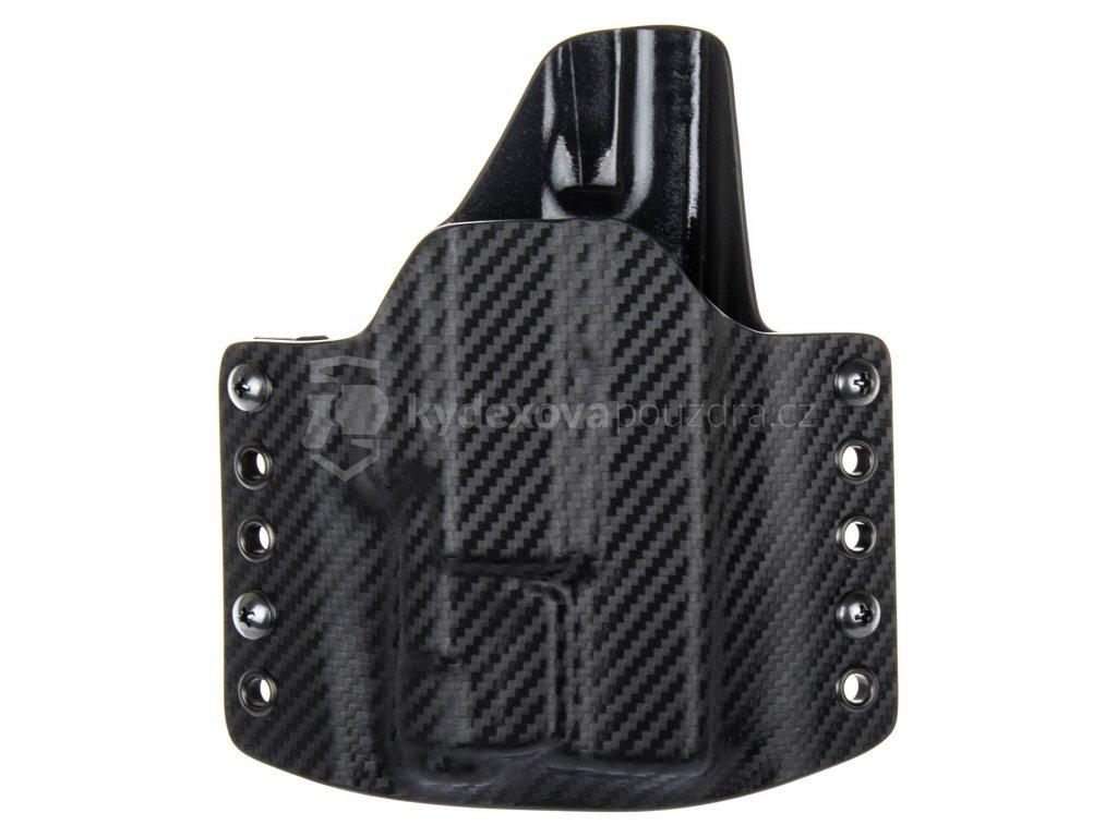 OWB - vnější kydexové pouzdro na Glock 19/23/32 + Inforce APLc - poloviční sweatguard - carbon/černá