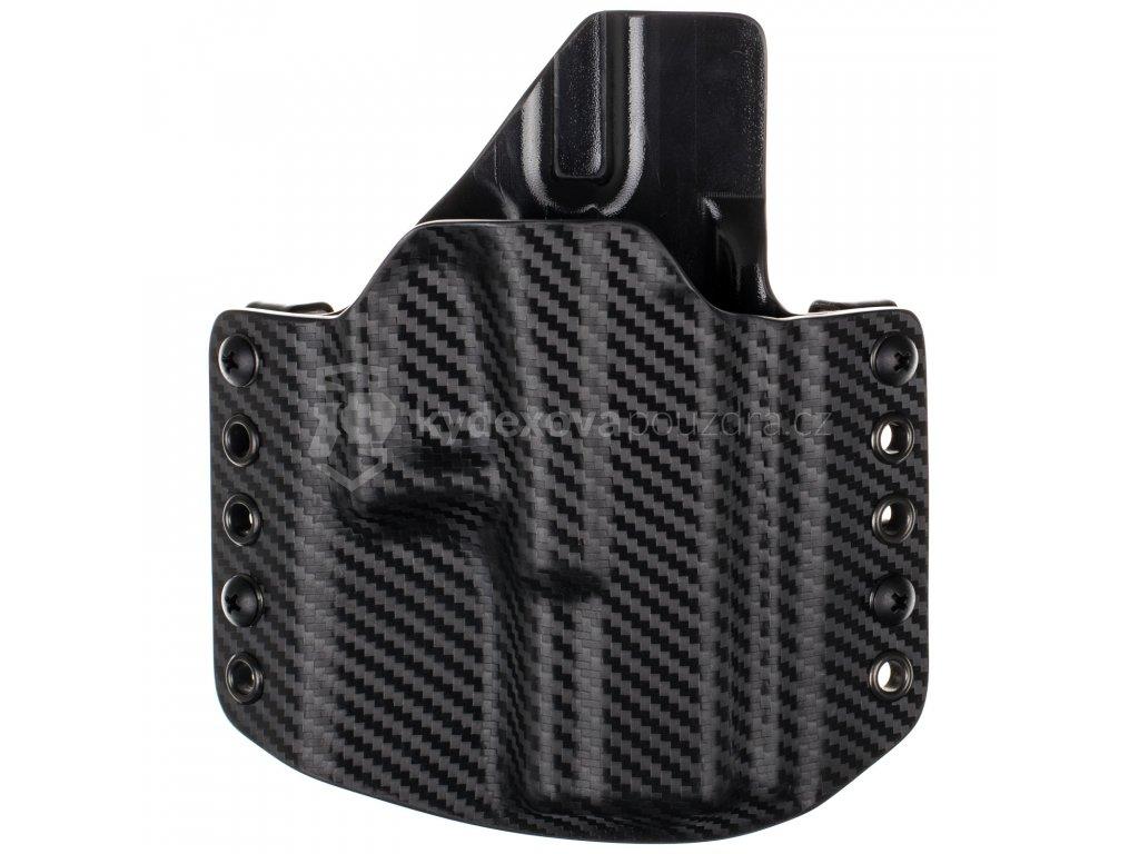 OWB - Glock 19/23/32 - Glock 19X/45 - vnější kydexové pouzdro - poloviční sweatguard - carbon/černá
