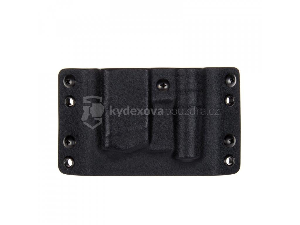 OWB - Glock 17/19/19X/45 + teleskopický obušek ESP Compact - vnější kydexové pouzdro na 1 zásobník - bez sweatguardu - černá/černá